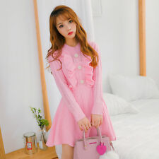 Japanese Sweet Candy color Lolita Lady Women Slim Princess Kint Dress 2colors