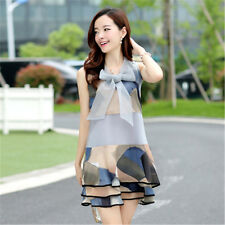 New Korean Women's Printed Wide Organza Bow Sleeveless Stitching Flounced Dress