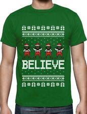 Believe Black Santa Elves Ugly Christmas Sweater T-Shirt Funny Xmas Gift