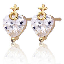 Lovely 14K Yellow Gold Plated Clear Rhinestone Heart Stud Earrings Multicolor