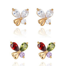 1 Pair 18K Gold Plated Big Teardrop Crystal Womens Cute Butterfly Stud Earrings