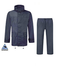 Mens Hooded Jacket and Trousers Set Waterproof & Windproof Breathable Navy Blue