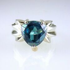 Tahitian Blue Topaz Trillion Cut Ring, Stunning Blue Color .925 SS Silver 4.50CT
