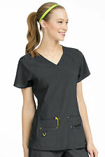 Activate by Med Couture Women's Refined V-Neck Solid Scrub Top 8416-Pewter