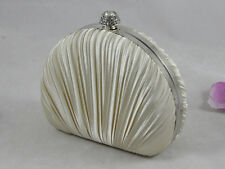 Champagne Beige Pleated Evening Solid Clutch Designed a Shell 6 Colors
