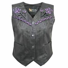Xelement Women's Leather Biker Vest with Rose Inlay and Braid