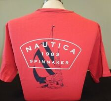 NEW MEN'S NAUTICA S/S GRAPHIC SOLID CREWNECK T-SHIRT, PALE RED, PICK A SIZE