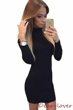 Mock Neck Sexy Cold Shoulder Knit Stretch Long Sleeve Women Party Mini Dress