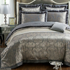 MAJESTY 4-Piece Luxury Sheets Silver Duvet Cover Set, Queen, Double/Full
