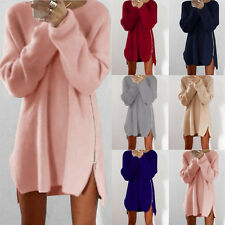 New Womens Side Zip Chunky Knitted Cardigans Baggy Sweater Jumper Tops Dress