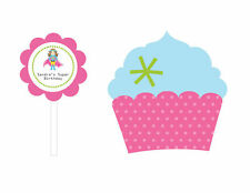 Personalized Superhero Girl Birthday Cupcake Wraps Toppers Party Decorations