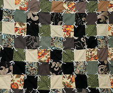 Patchwork Quilt Throw Blanket Handmade Upcycled Recycled Earth Tones Funky 54x80