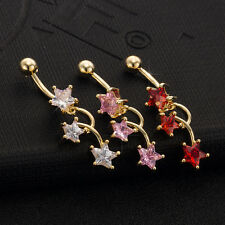 CZ Star Staggered Dangle Helix Belly Ring Piercing Shaped Fashion Body Jewelry
