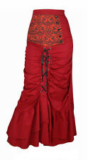 Gothic Skirt Victorian Steampunk, Long Red Corset Maxi with Damask Panel UK 10