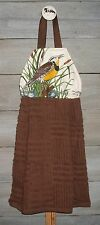 Meadowlark Songbird Hanging Kitchen Dishtowel Original Handmade Design by HCF&D