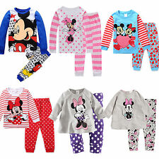 Baby Kids Boys Girls Minnie Mickey Sleepwear Nightwear Pajamas 2Pcs Outfit Sets