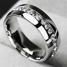 Size6-13 Men Women Stainless Steel Band Ring Eternity Wedding  Engagement Silver