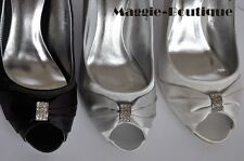 Satin Diamante Silver Black Peeptoe Kitten Heel Wedding Party Shoes UK 3 4 5 7.5
