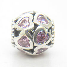 Authentic S925 Silver Love All Around Openwork Heart Fancy Pink CZ Charm