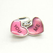 Authentic S925 Silver You & Me Love Heart Clear CZ & Fuchsia Enamel Dangle Charm