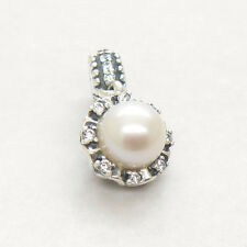Authentic S925 Silver Dangle Everlasting Grace white Pearl & Clear CZ Charm