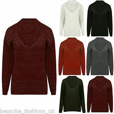 Ladies Women's Shiny Lurex Knitted Long Sleeve CHOKER NECK Xmas Jumper Top 8-16