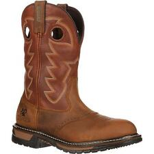 Rocky 2775 Original Ride Branson Saddle Leather Pull On Roper Western Work Boots