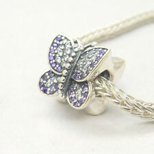 Genuine Authentic Silver Sparkling Butterfly Purple Pave Cz Charm