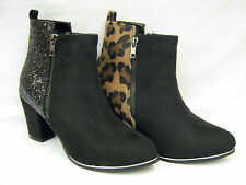 LADIES GLITTER / ANIMAL PRINT FASHION ANKLE BOOTS SPOT ON F50465
