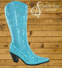 Helen Heart Sequin Cowboy Boots Turquoise *Brand New All Sizes*
