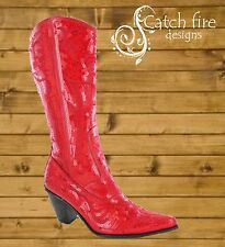 Helen Heart Sequin Cowboy Boots Red *Brand New All Sizes*