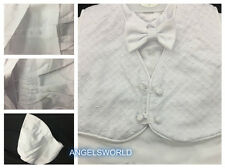 Baby Boy Christening Baptism white Outfit/Pants/Vest/Cross/4 pieces Outfit/XS-XL
