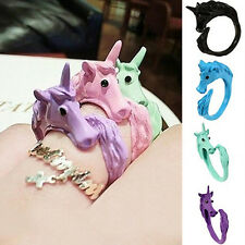 Women Alluring Candy Color Unicorn Finger Ring Enamel Horse Jewelry Ring JS