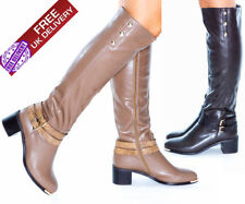 NEW LADIES WOMENS STYLISH SHOES MID BLOCK HEEL ROUND TOE KNEE HIGH BOOTS UK SIZE