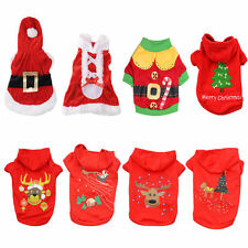 Pet Dog Puppy Santa Shirt Christmas Clothes Costumes Warm Jacket Coat Apparel US