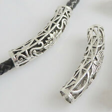 5/10 Tibetan Silver Curved Hollow Tube Spacer Bead 47mm Jewellery Making Finding