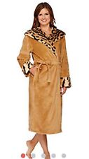 NEW WOMENS LARGE TIGER DENNIS BASSO SNUGGLY PLUSH & FAUX FUR HOODED ROBE H206785