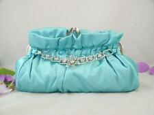 Torquoise Lt Blue Satin Evening/Prom Purse Charming Crystal Chain 6 Color