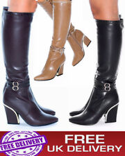 WOMEN LADIES GORGEOUS MID CALF KNEE HIGH SHOES LOW BLOCK HEEL PU LEATHER BOOTS