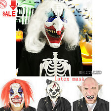 Scary Clown Mask Wide Devil Face Red White Hair Evil Creepy Adult Halloween Mask