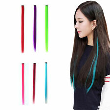 Women Multi Color Long Straight Synthetic Clip in on Hair Extensions Piece