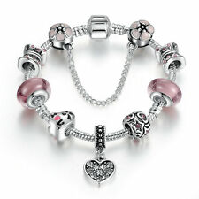 DIY European 925 Silver Plated Charms Bracelet with Pink LAMPWORK GLASS BEADS