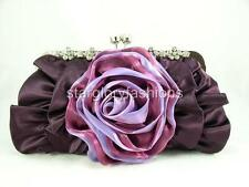 Purple Crystal Flowers Frame Wedding/Party Big Clutch Lots Colors