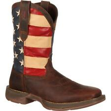 "Durango DB5554 12"" Rebel Patriotic Pull On Square Toe Western Flag Cowboy Boots"