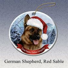 German Shepherd Dog Santa Hat Christmas Ornament Porcelain China USA-made