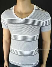 ARMANI EXCHANGE AX Mens Signature Striped V Neck Tee Shirt Logo Muscle Fit NWT