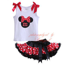 Baby Girl Sleeveless T Shirt Top + Tutu Layered Skirt Set Princess Party Outfit