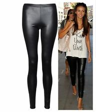 New Ladies Sexy Shiny Wet Look Black Leather Full Ankle Length Legging size 8-24