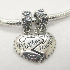 Authentic S925 Silver Mother Daughter Love Heart Dangle Charm