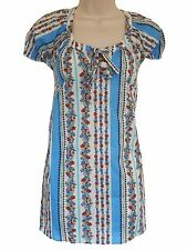 New~Evans cotton tunic top~Striped floral print~14-16-18-20-22-24-26-28-30-32